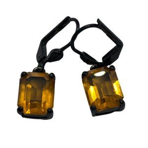Givenchy Signed Dangly Yellow Rhinestone Earrings
